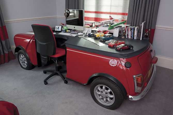 A full size mini cooper converted into a desk
