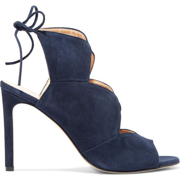8 Scalloped suede sandals (£85) ❤ liked on Polyvore featuring shoes, sandals, navy, navy blue high heel sandals, cut out sandals, navy high heel sandals, high heel sandals and navy blue suede shoes