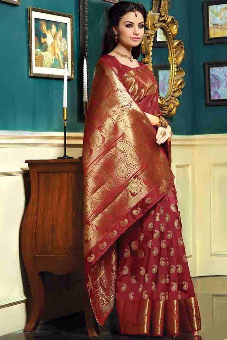Maroon Silk Bridal Saree With Unstitch Blouse