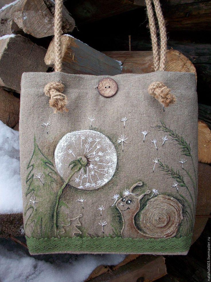 Купить Льняная сумка с росписью и вышивкой...Ульянка и одуванчик... - зеленый, льняная сумка бохо