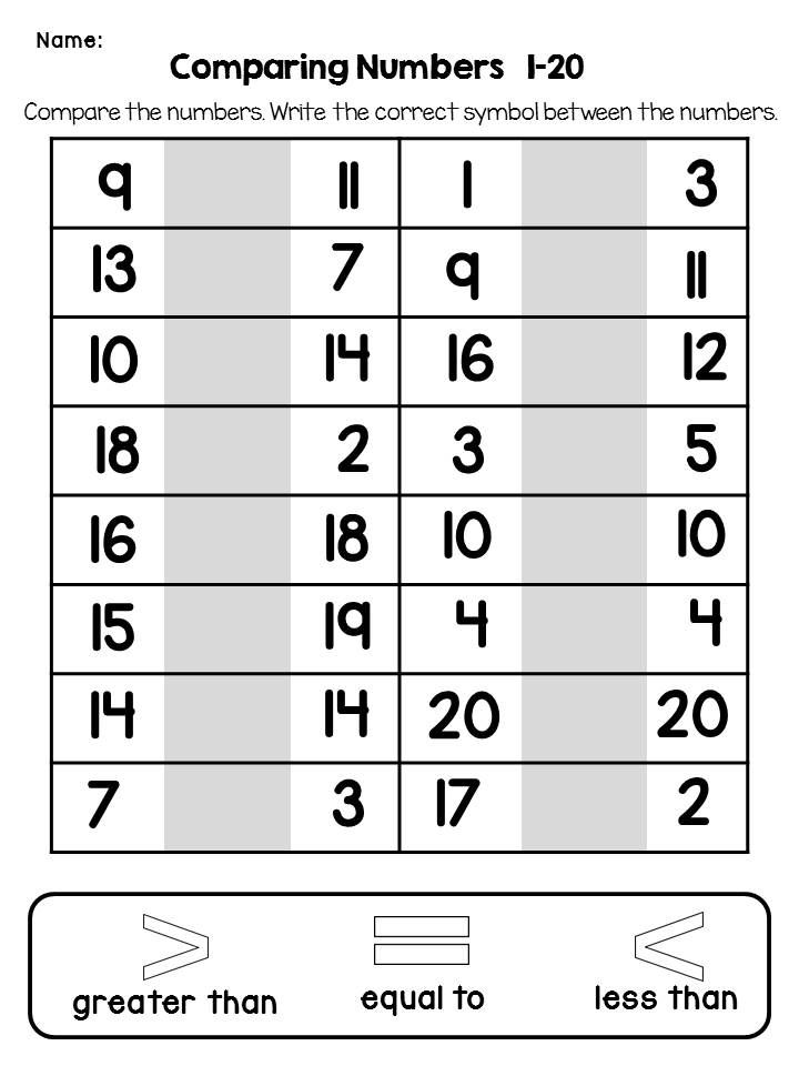 Comparing Numbers No Prep Printables Comparing Numbers Guided