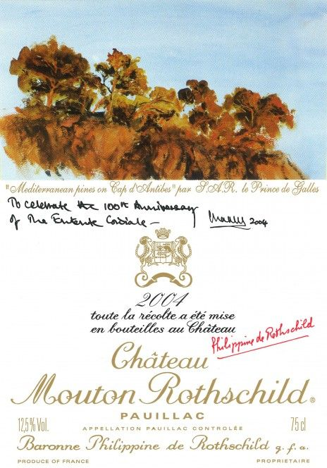 Etiquette Mouton Rothschild 2004 entente cordiale