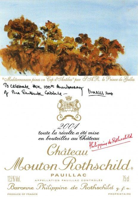 Etiquette Mouton Rothschild 2004 entente cordiale