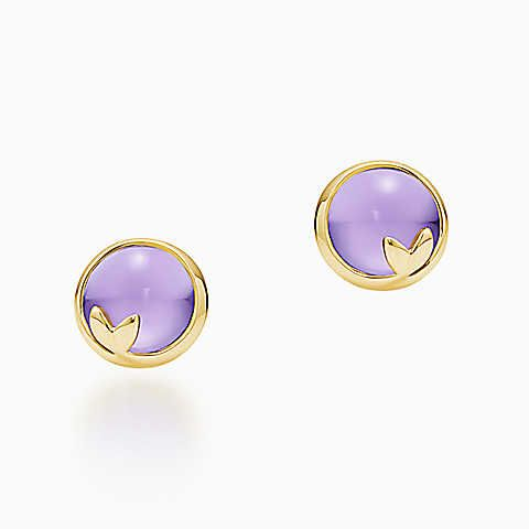 Paloma Picasso® Olive Leaf earrings in 18k gold with amethysts.
