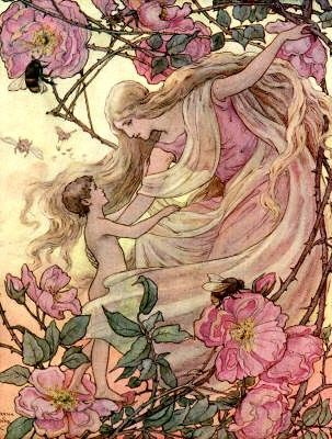 """Frank Cheyne Pape- (English illustrator 1878-1972) ~The Rose greets the Child from """"The Story Without an End"""", 1912"""