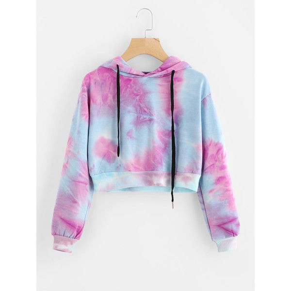 Water Color Drawstring Crop Hoodie ($16) ❤ liked on Polyvore featuring tops, hoodies, multicolor, hoodie crop top, drawstring hoodie, sweatshirt hoodies, hooded pullover and hoodie top