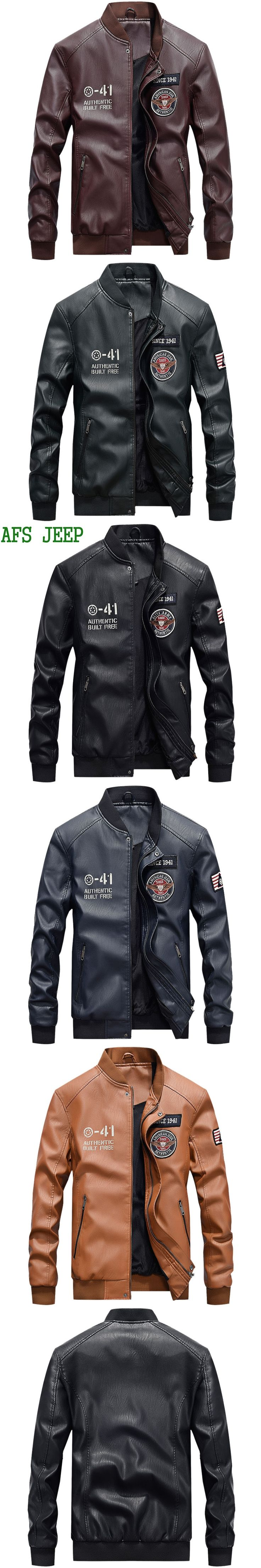 AFS JEEP High quality New arrive brand Motorcycle Faux Leather men PU Jacket ,men's leather jacket, mens leather jackets COOL 99