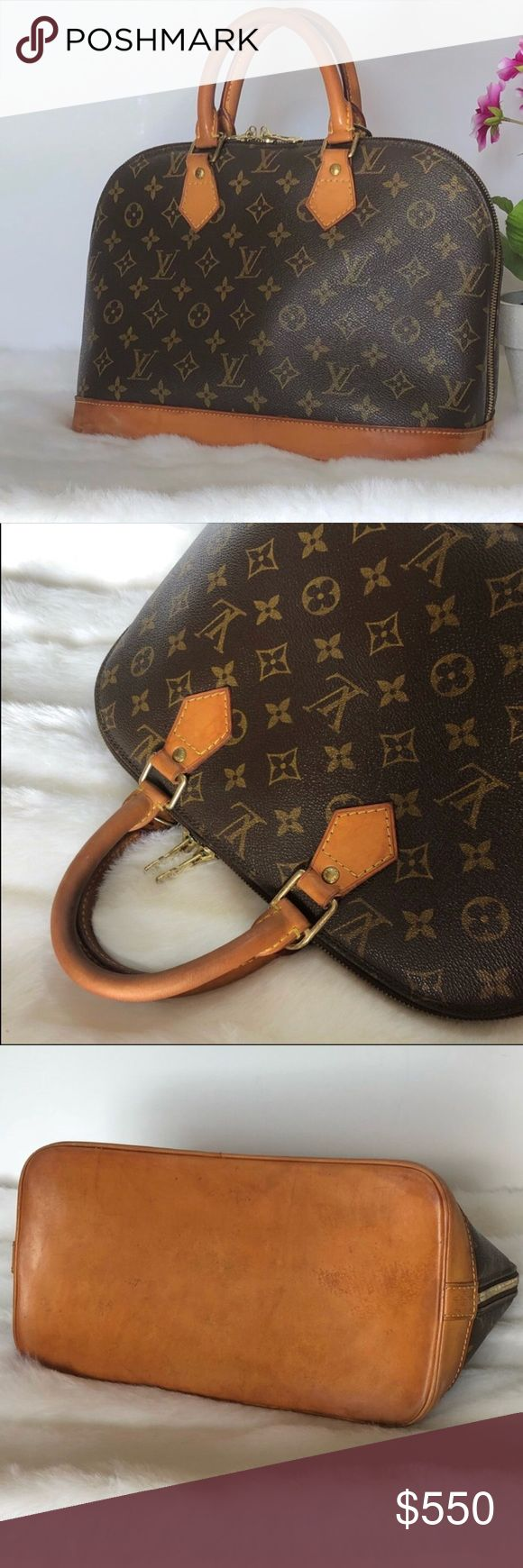 """Authentic Louis Vuitton Alma Louis Vuitton Alma Monogram Bag. Beautiful honey patina. Shows wear on hardware, bottom and corners overall is in good condition! Lightly used on handles. No odors. Dimensions: 9""""H x 12""""L x 6""""W. Made in France. Authentic! Louis Vuitton Bags"""