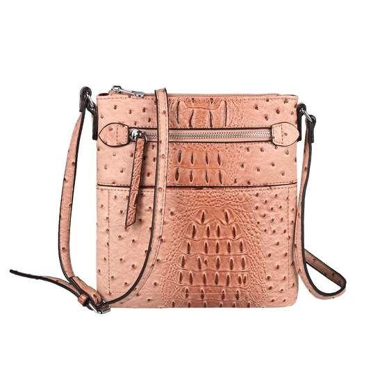 Obc Damen Tasche Kroko Strauss Optik Schultertasche Umhangetasche Crossbody Bag Crossover Leder Optik Abendtasche Altrosa In 2020 Taschen Damen Schultertasche Und Umhangetasche