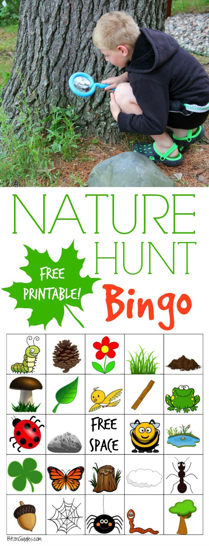 Nature Hunt Bingo - A super fun outdoor game for kids that encourages…