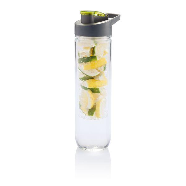 800ml Tritan Flasche mit Früchte Aromafach. Bereichern Sie Ihr Wasser mit Vitaminen und einer Menge Geschmack durch das einfache Hinzufügen von frischen Früchten im Aromafach. Dieses Fach kann durch das Beimengen von Eiswürfeln auch als Kühlfach verwendet werden. Werbeartikel Wasserflasche mit Aromafach in der Farbe grün.
