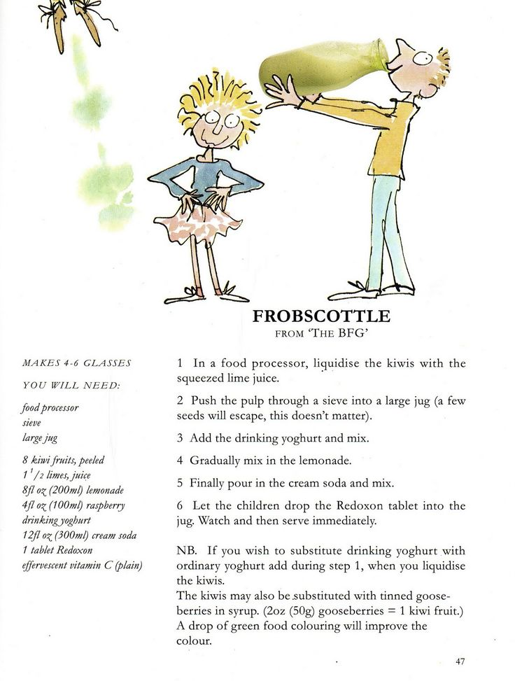 This is the Frobscottle recipe from Roald Dahl's Revolting Recipe cookbook that I had as a kid. Still have somewhere, my dad scanned this ...