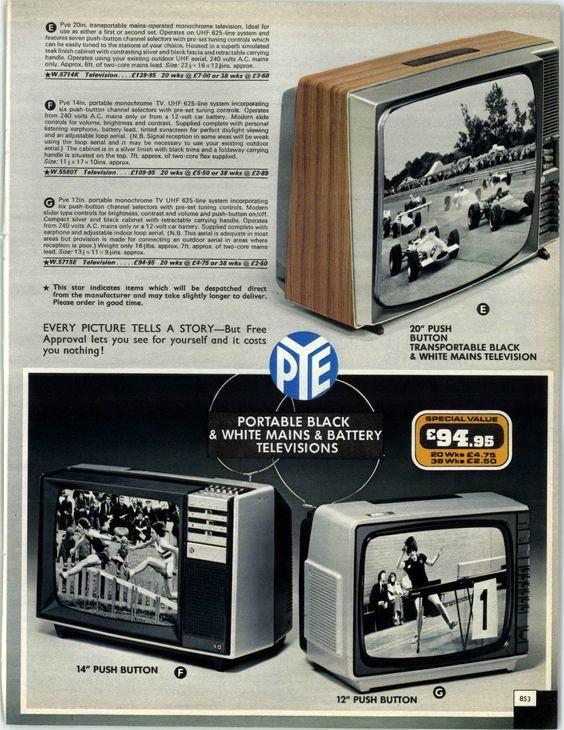 Pye Television sets (1977-78) in a Marshall Ward catalogue