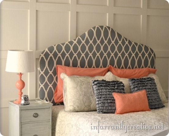 Coral+cream+smoky grey. Love this combo.Guest Room, Colors Combos, Guest Bedrooms, Colors Combinations, Colors Schemes, Diy Headboards, Upholstered Headboards, Gray Bedrooms, Fabrics Headboards