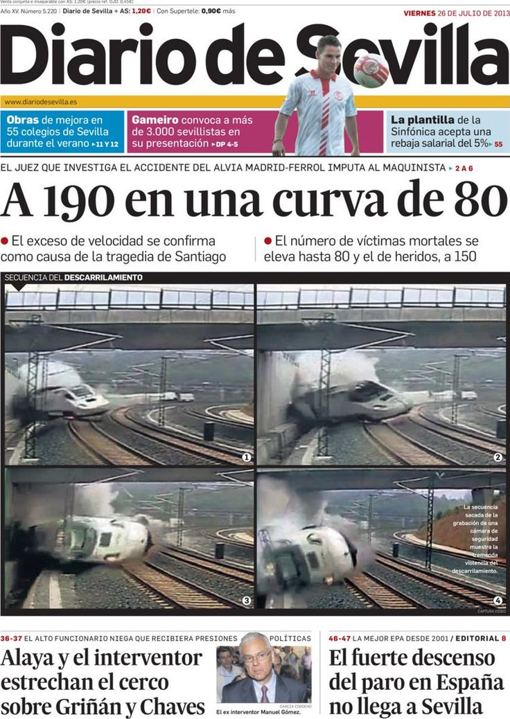 Los Titulares y Portadas de Noticias Destacadas Españolas del 26 de Julio de 2013 del Diario de Sevilla ¿Que le pareció esta Portada de este Diario Español?