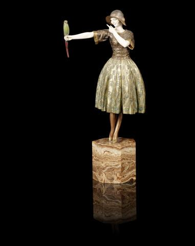 Demetre Chiparus 'Indiscreet' a Patinated Bronze and Carved Ivory Study, circa 1925