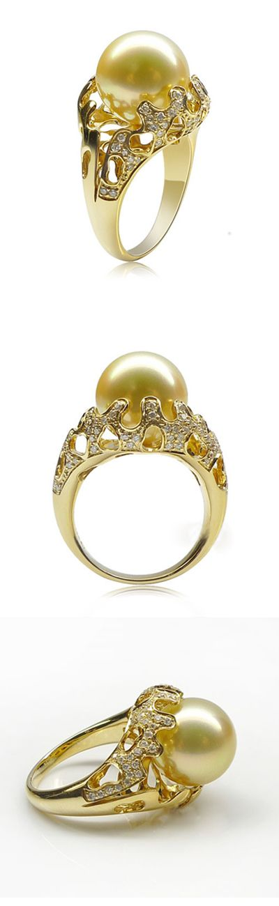 south sea pearl ring with diamonds 1011-DZK08