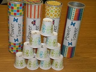 Game for vocabulary or conjugation. Canister is filled with cups and each cup has a word on it. When they answer correctly, they can start building a tower. If they get a word wrong or knock over the tower or the tower falls, they have to start over - this has so many possibilities in a Foreign Language classroom!