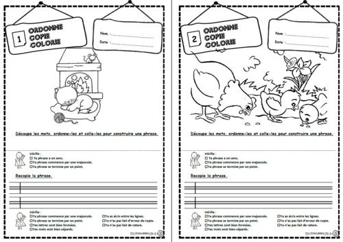 Ordonne, copie, colorie, écrire, phrases CP