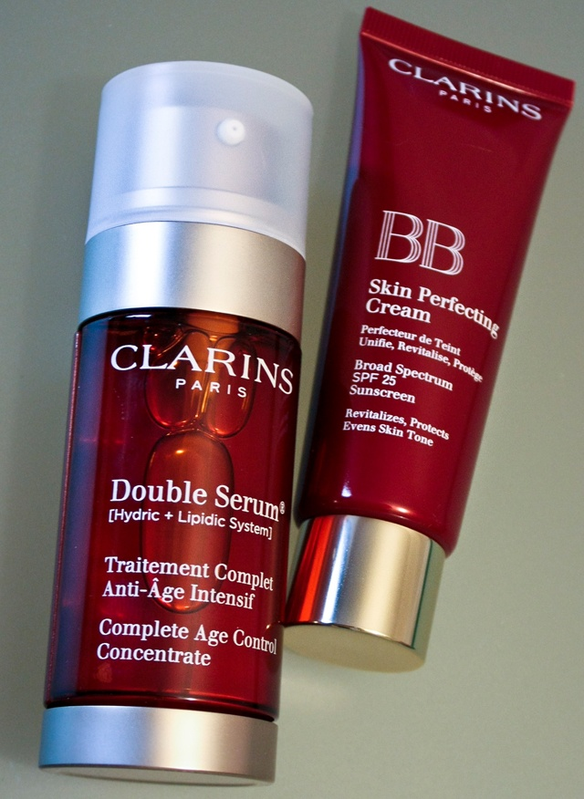 Clarins double serum and BB cream on www.thecurlyway.com