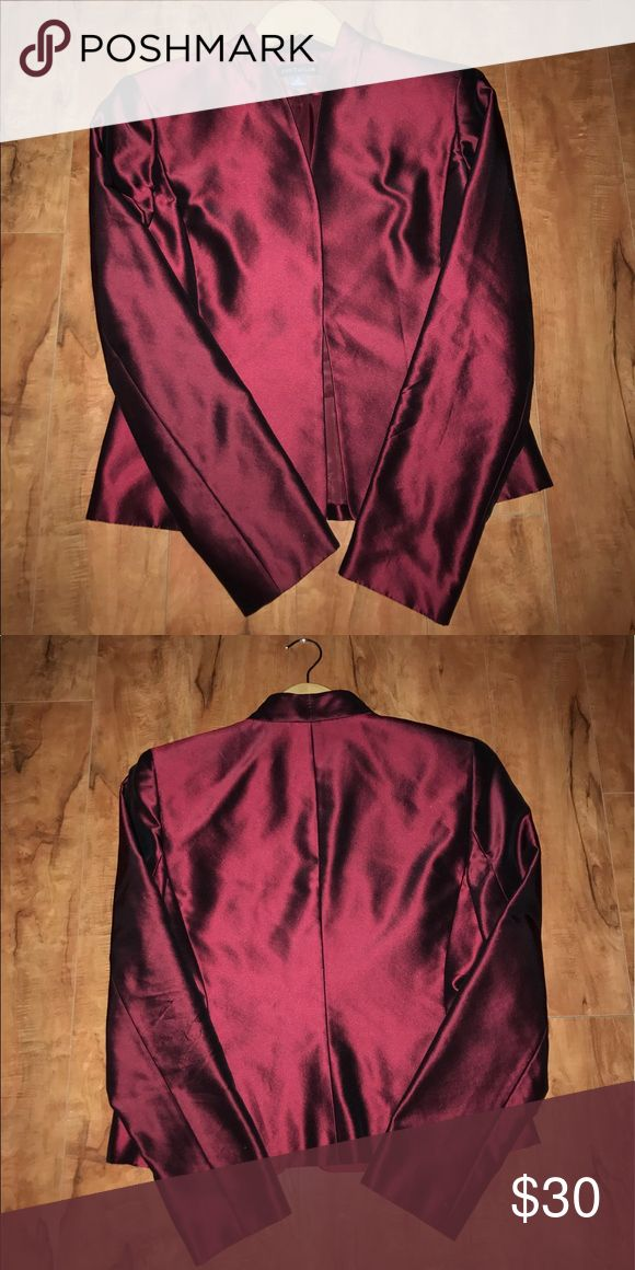 Susan Graver -  Burgundy Leather Look Coat Be chic in this Susan Graver coat jacket. Soft boucle fabric is accented with faux-leather for a great look. Stylish and fashionable.  From Susan Graver. Susan Graver Jackets & Coats