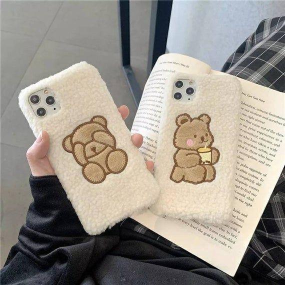 Warm Lamb Sherpa Kawaii Plush Fabric Phone Case for iPhone