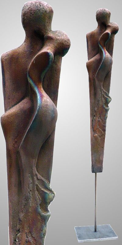 Edeltrude Arleitner, wo:man6, ceramic unique (raku, copper matt), h/total = ca. 130 cm (ca. 65 without iron stand)