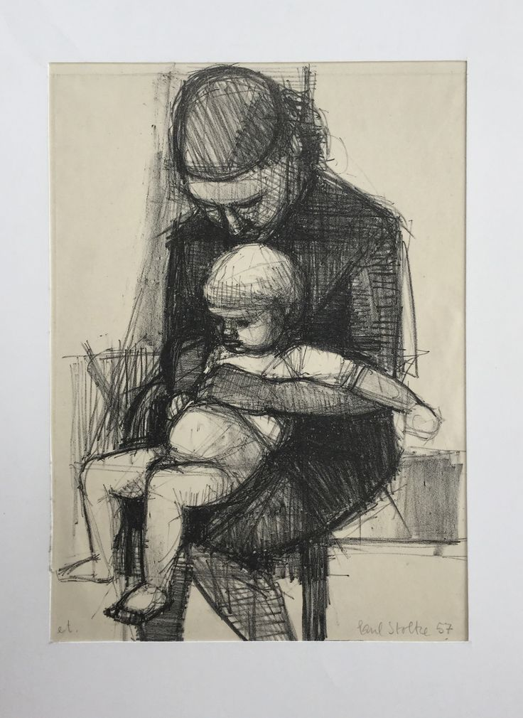 Paul Stoltze Lithografic print of Wife and child. (Pharyah)