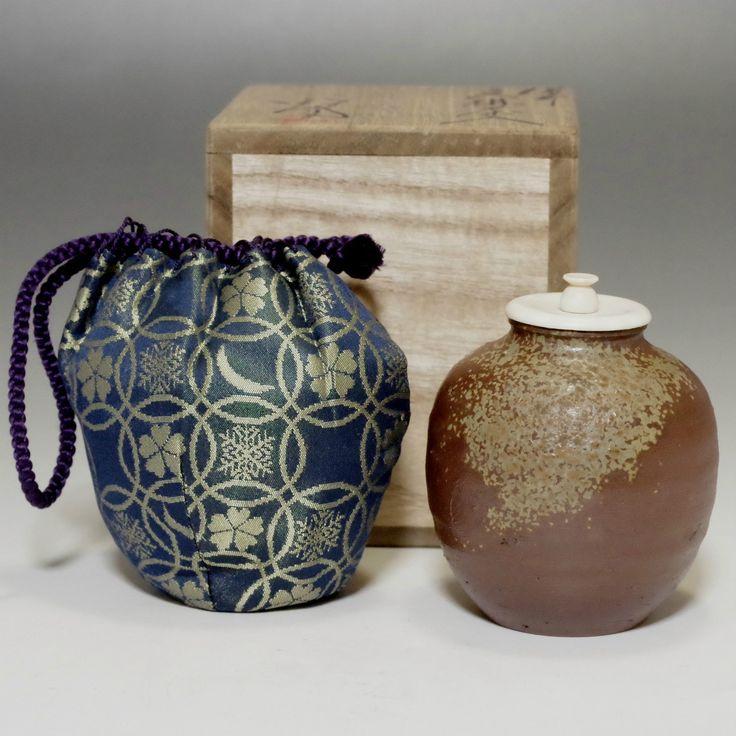 BUNRIN CHAIRE Modern Jaoanese Bizen Pottery Tea Caddy w TOMOBAKO #996 - ChanoYu online shop