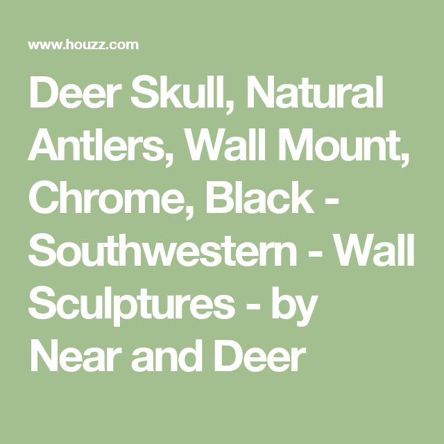 Deer Skull, Natural Antlers, Wall Mount, Chrome, Black - Southwestern - Wall Sculptures - by Near and Deer