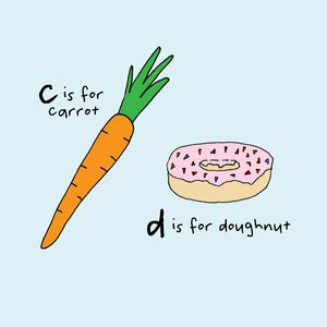 C is for carrot.  D is for doughnut.