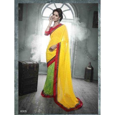 Deliciousstar Yellow Designer Saree WithSaree-Georgette , Blouse-Banglori Silk