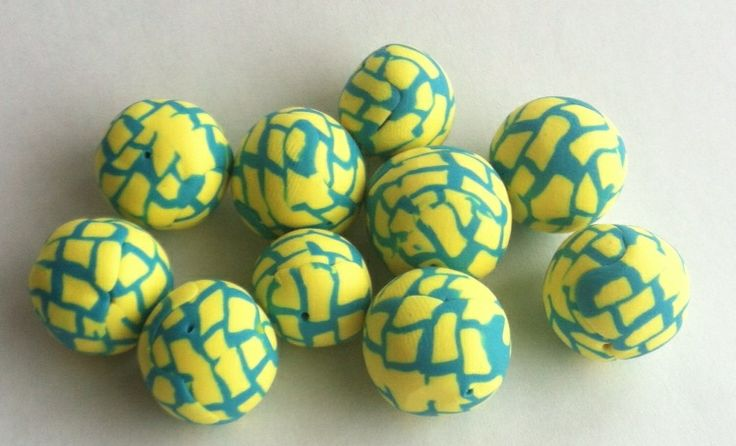 Turquoise and yellow polymer beads Northern bead factory. Etsy