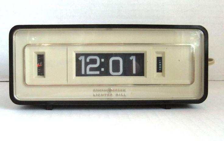 details about vintage general electric alarm clock flip number with lighted dial works in. Black Bedroom Furniture Sets. Home Design Ideas