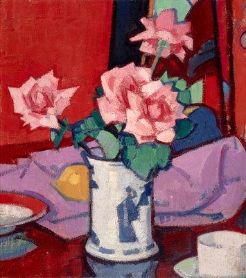 Pink Roses, Chinese Vase by  Samuel John Peploe