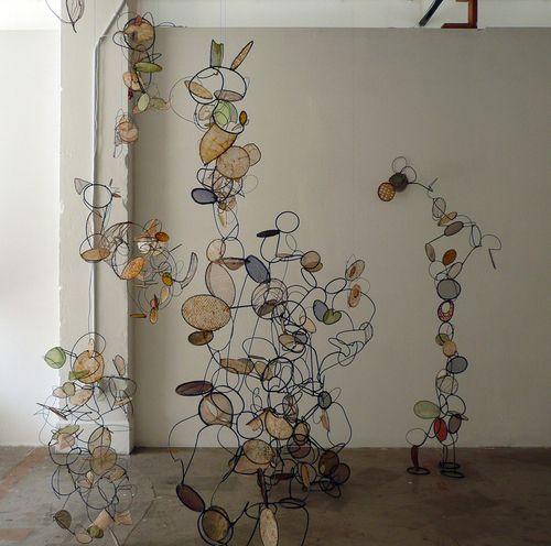 installation at Shift Gallery, metal, sculpture, wax, paper, 2009 (Contemporary Sculpture)