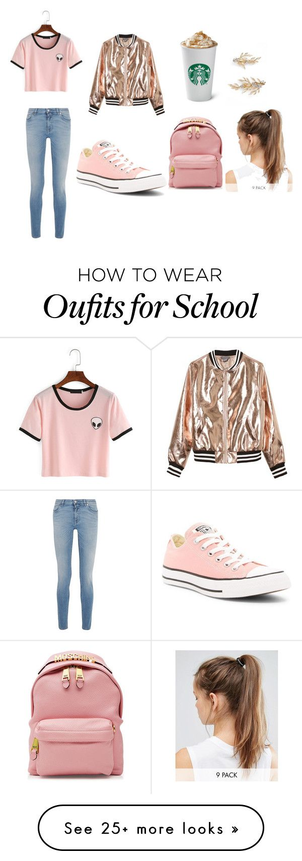 """going to school"" by raniah-aljumaili on Polyvore featuring Givenchy, Sans Souci, Converse, Moschino, NIKE, Brides & Hairpins and Pink"