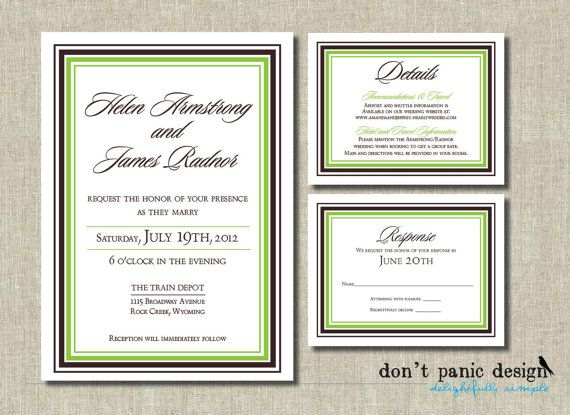 Formal Elegant Printable Wedding Invitation set - Green and brown border save the date, Response  - WP3