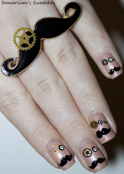 moustache steampunk nails