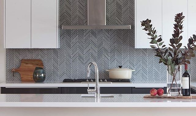 The Chevron Pattern Has Become More And More Popular Because Of Its Versatility And Unique Design T Kitchen Tiles Backsplash Bathroom Color Schemes Backsplash