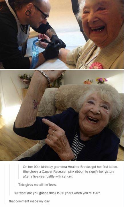 At 90 Heather brooks got her first tattoo
