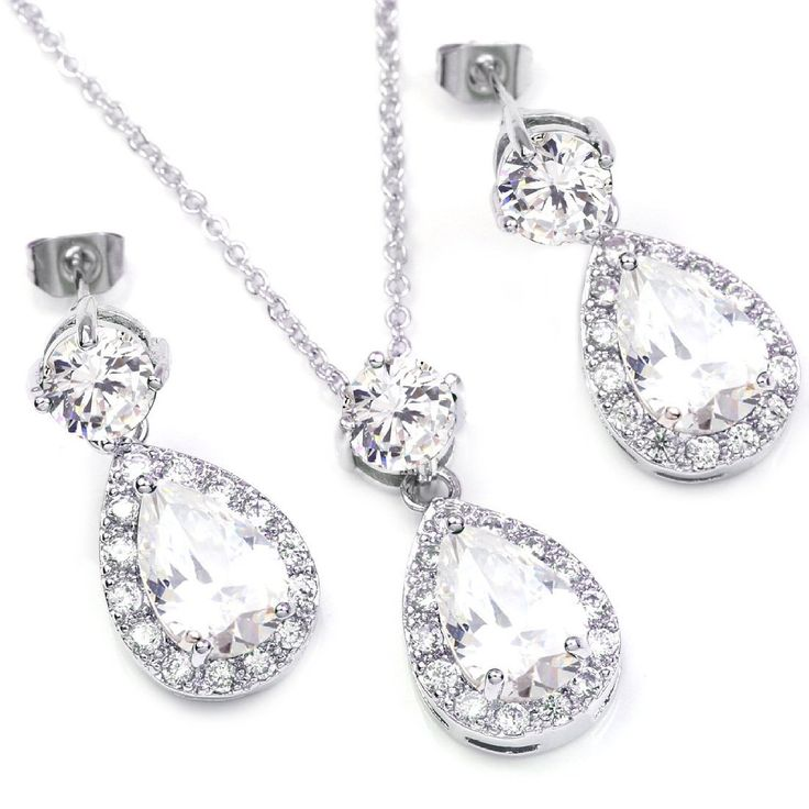 FC White Gold GP Clear Swarovski Element CZ Crystal Teardrop Bridal Necklace Dangle Earring Jewelry Set -- You can get more details by clicking on the image.