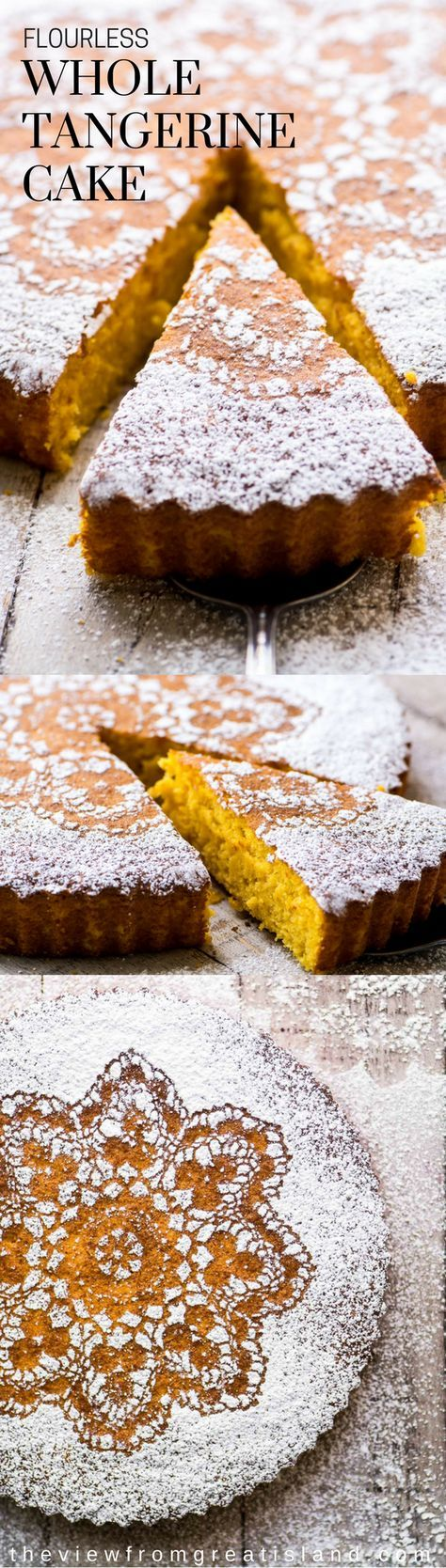 Gluten Free Whole Tangerine Cake ~ this cake is such a wonderful surprise, made with whole tangerines and almond flour in the Italian tradition. @orangecake #flourlesscake #glutenfreecake #tangerinecake #wholeorangecake #citrus #glutenfreeorangecake #almondflourcake #almondflour #lacecake #tangerines #clementines #dessert #glutenfreedessert #flourlesscake