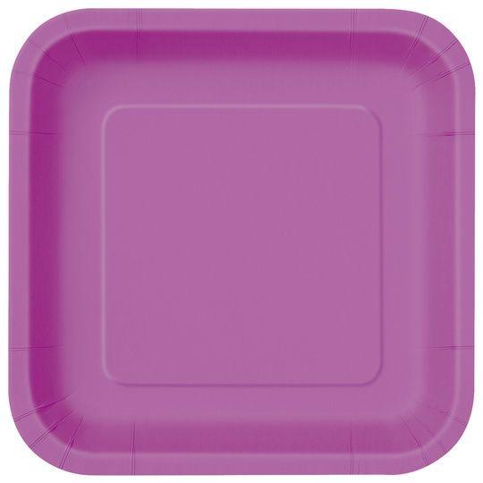 "9"" Square Purple Dinner Plates, 14ct"