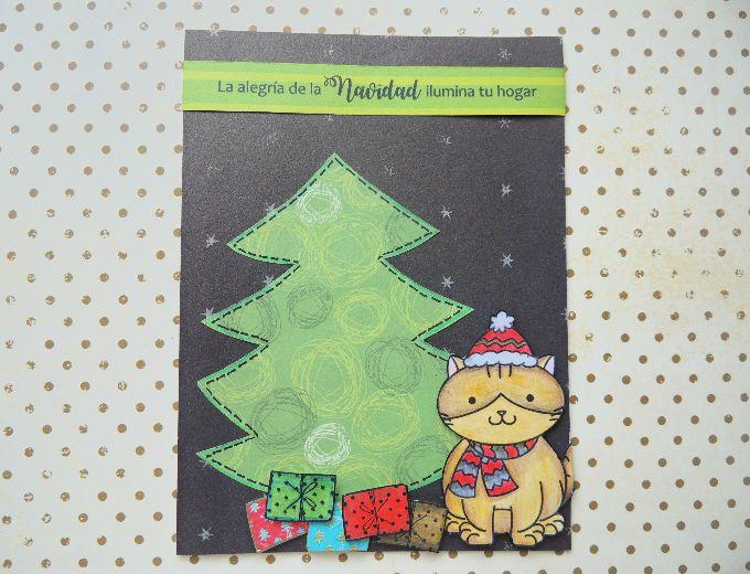 Tarjeta Gato ayudante de Santa, tarjetas artesanales, tarejtas hechas a mano, tarjetas para toda ocasión