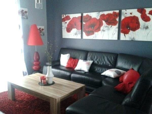 Deco Salon Noir Blanc Rouge En 2020 Avec Images Decoration