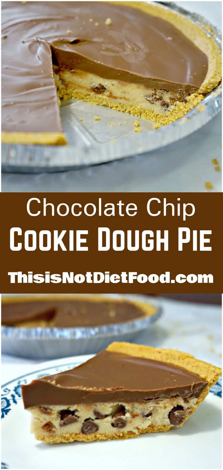 Chocolate Chip Cookie Dough Pie. Edible cookie dough in a graham cracker crust topped with milk chocolate. Easy no bake dessert.