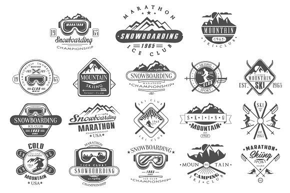 Vintage Skiing, Snowboarding Labels by TopVectors on @creativemarket