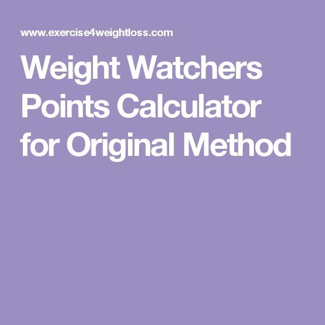 Weight Watchers Points Calculator for Original Method