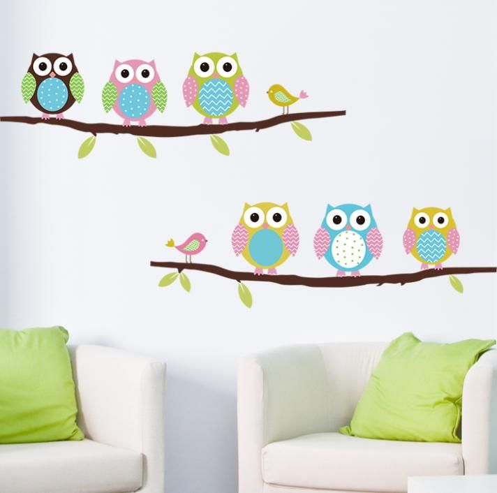 Pas cher animal cartoon mur hibou arbre de vinyle - Grand stickers muraux pas cher ...
